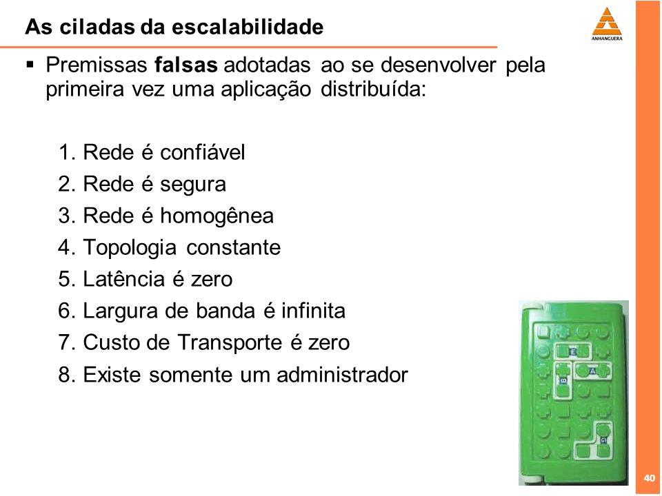 40 As ciladas da escalabilidade Premissas falsas adotadas ao se desenvolver pela primeira vez uma aplicação distribuída: Rede é confiável Rede é segur