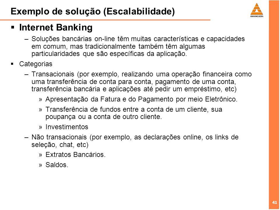 41 Exemplo de solução (Escalabilidade) Internet Banking –Soluções bancárias on-line têm muitas características e capacidades em comum, mas tradicional