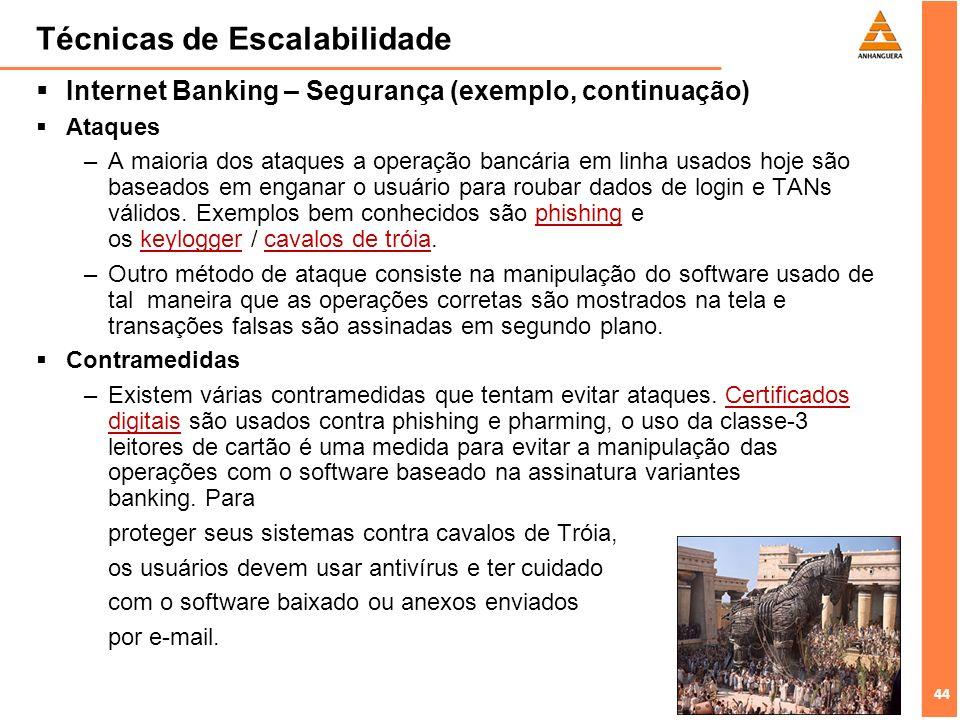 44 Técnicas de Escalabilidade Internet Banking – Segurança (exemplo, continuação) Ataques –A maioria dos ataques a operação bancária em linha usados h