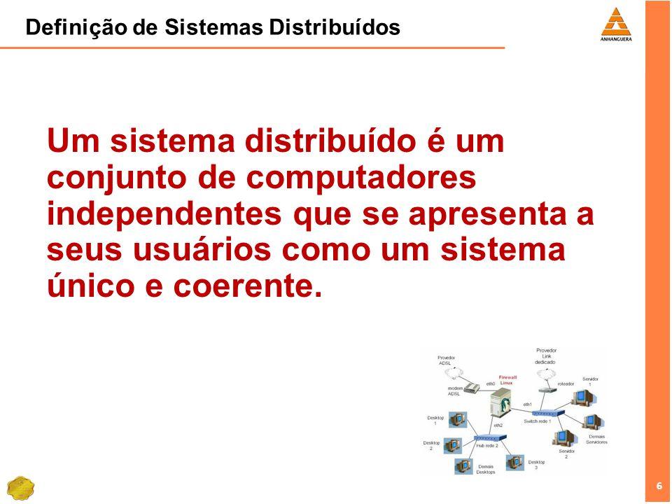 6 6 Definição de Sistemas Distribuídos Um sistema distribuído é um conjunto de computadores independentes que se apresenta a seus usuários como um sis