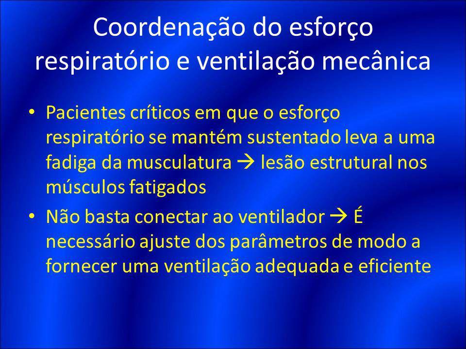 Coordenação do esforço respiratório e ventilação mecânica Pacientes críticos em que o esforço respiratório se mantém sustentado leva a uma fadiga da m
