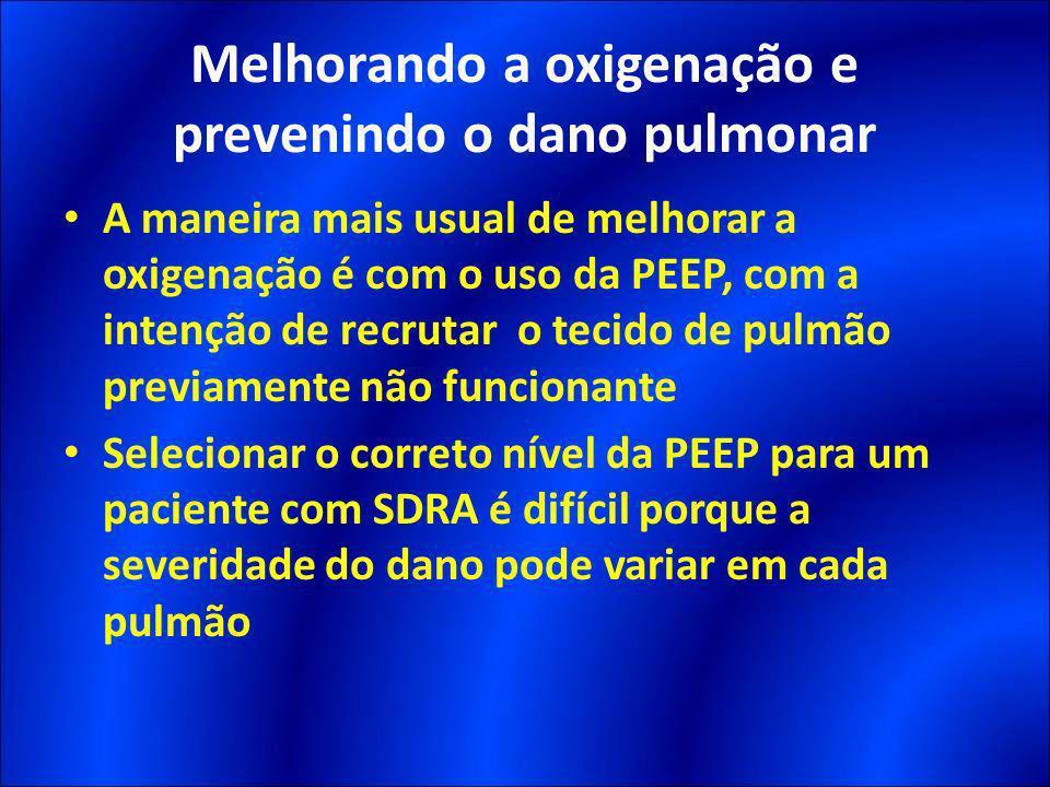 A maneira mais usual de melhorar a oxigenação é com o uso da PEEP, com a intenção de recrutar o tecido de pulmão previamente não funcionante Seleciona