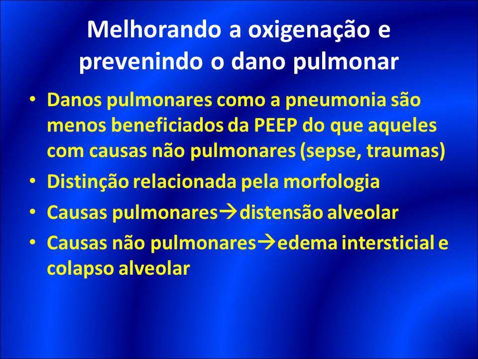 Danos pulmonares como a pneumonia são menos beneficiados da PEEP do que aqueles com causas não pulmonares (sepse, traumas) Distinção relacionada pela