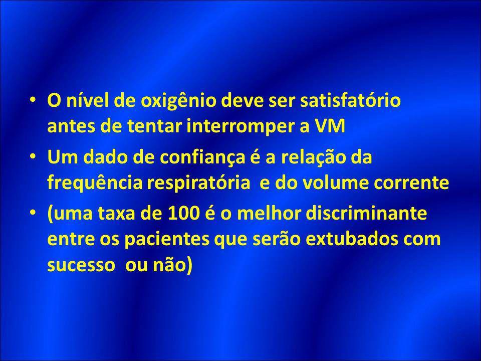 O nível de oxigênio deve ser satisfatório antes de tentar interromper a VM Um dado de confiança é a relação da frequência respiratória e do volume cor