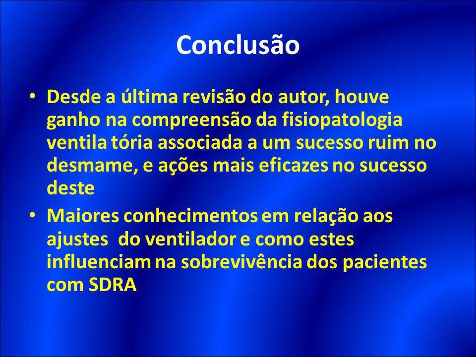 Conclusão Desde a última revisão do autor, houve ganho na compreensão da fisiopatologia ventila tória associada a um sucesso ruim no desmame, e ações