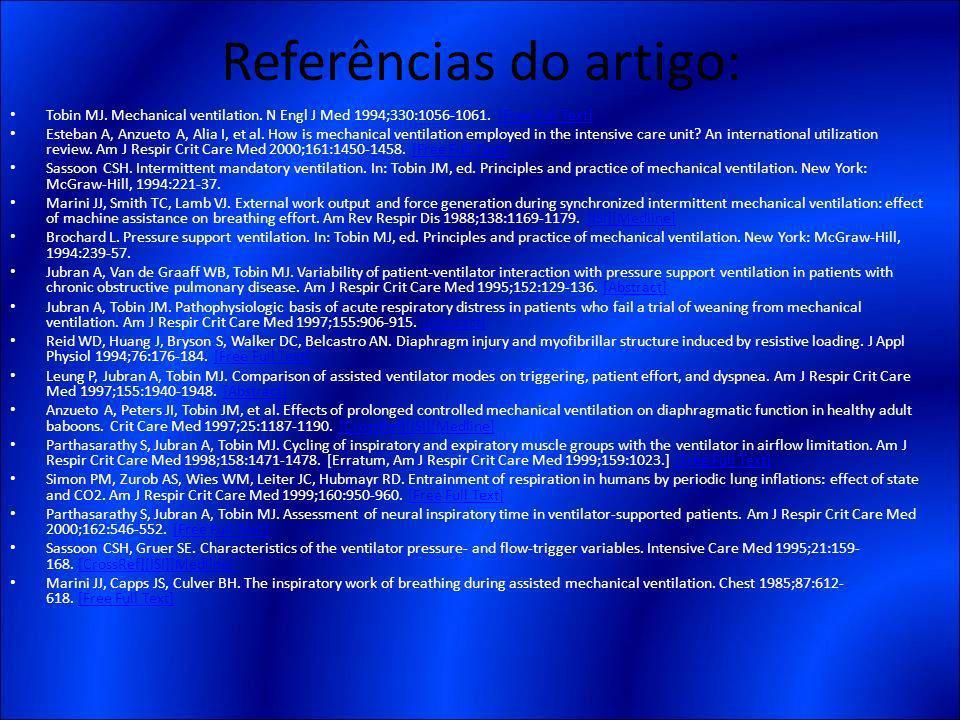 Referências do artigo: Tobin MJ. Mechanical ventilation. N Engl J Med 1994;330:1056-1061. [Free Full Text][Free Full Text] Esteban A, Anzueto A, Alia