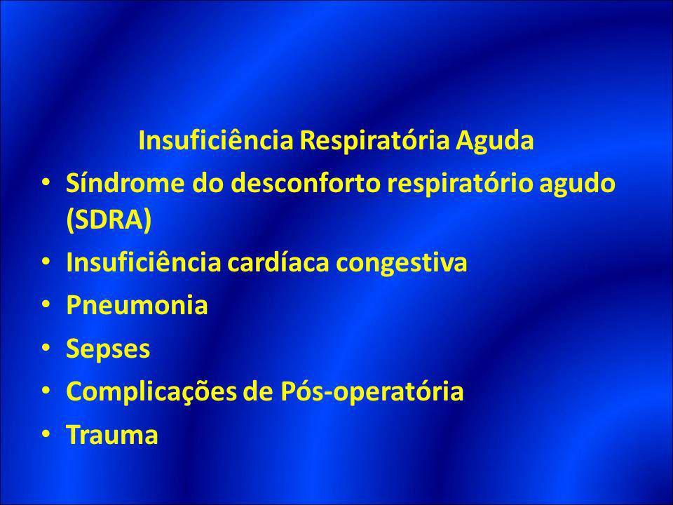Insuficiência Respiratória Aguda Síndrome do desconforto respiratório agudo (SDRA) Insuficiência cardíaca congestiva Pneumonia Sepses Complicações de