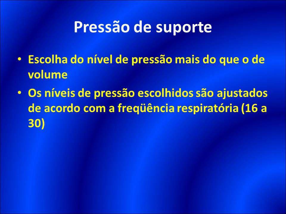Pressão de suporte Escolha do nível de pressão mais do que o de volume Os níveis de pressão escolhidos são ajustados de acordo com a freqüência respir