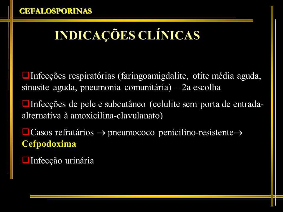 CEFALOSPORINAS Infecções respiratórias (faringoamigdalite, otite média aguda, sinusite aguda, pneumonia comunitária) – 2a escolha Infecções de pele e
