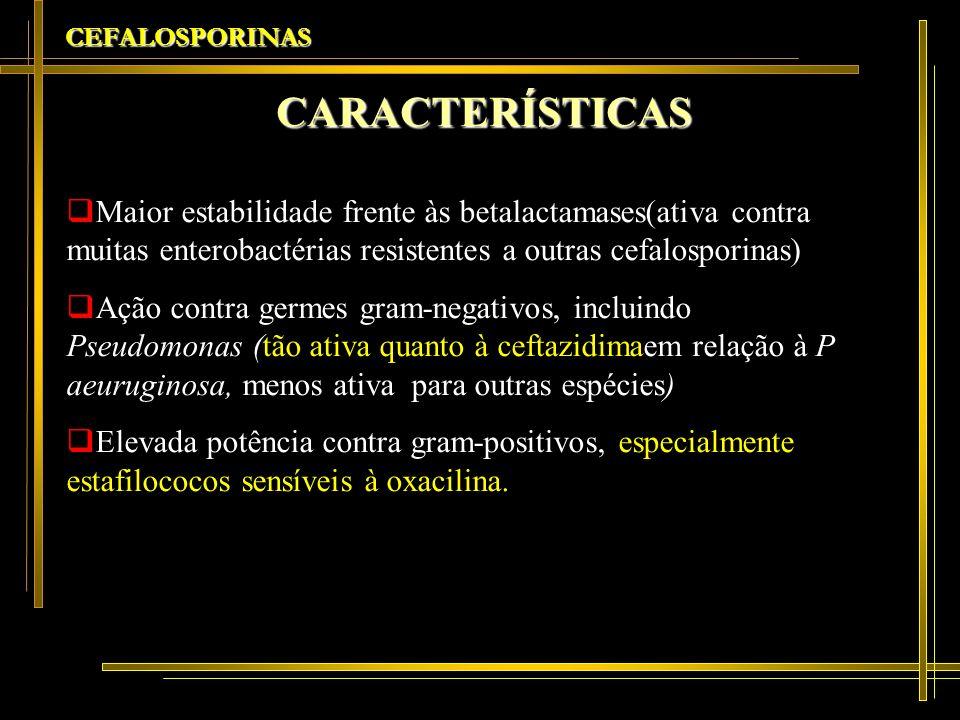 CEFALOSPORINAS CARACTERÍSTICAS Maior estabilidade frente às betalactamases(ativa contra muitas enterobactérias resistentes a outras cefalosporinas) Aç