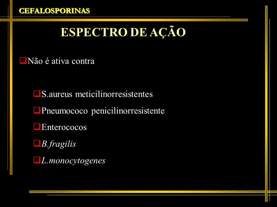 CEFALOSPORINAS Não é ativa contra S.aureus meticilinorresistentes Pneumococo penicilinorresistente Enterococos B.fragilis L.monocytogenes ESPECTRO DE