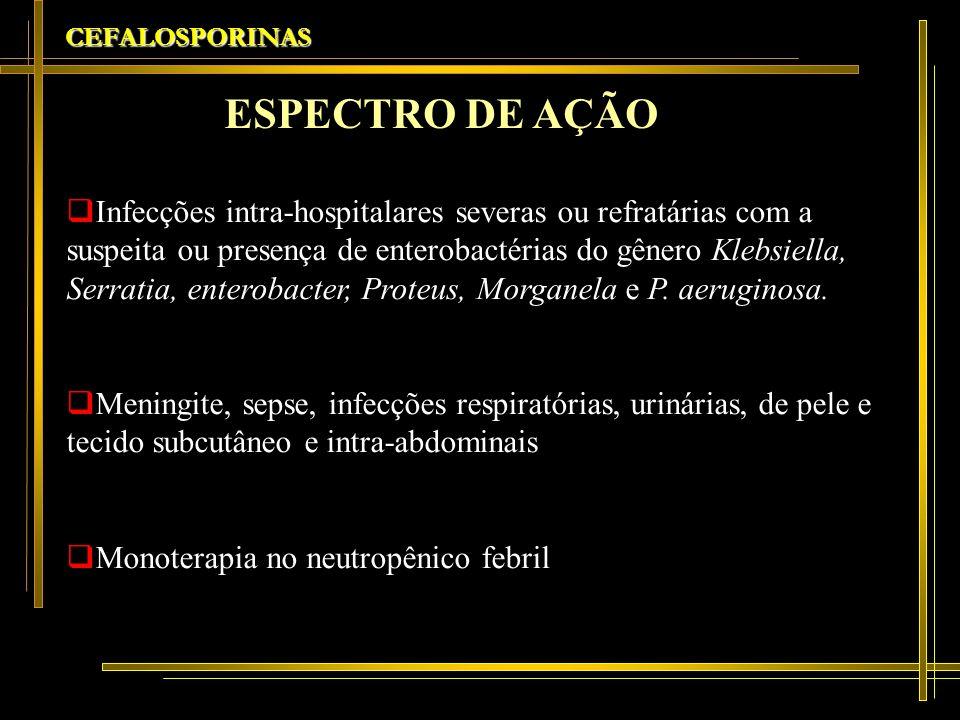 CEFALOSPORINAS Infecções intra-hospitalares severas ou refratárias com a suspeita ou presença de enterobactérias do gênero Klebsiella, Serratia, enter
