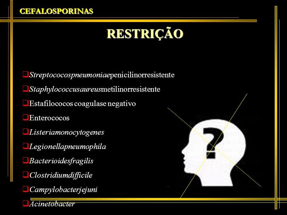 CEFALOSPORINAS RESTRIÇÃO Streptococospneumoniaepenicilinorresistente Staphylococcusaureusmetilinorresistente Estafilococos coagulase negativo Enteroco
