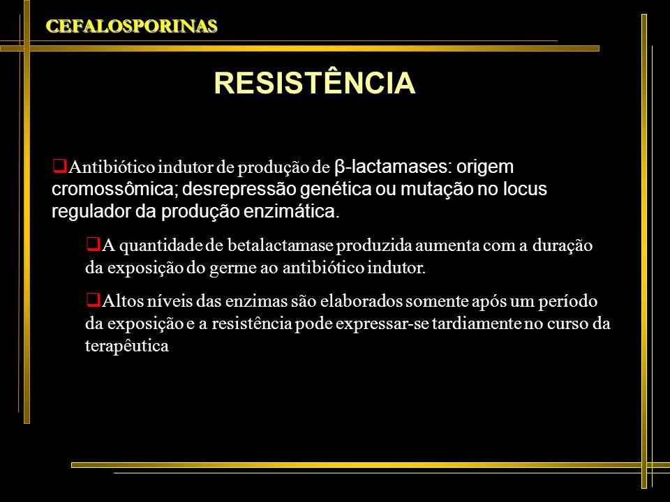 CEFALOSPORINAS CARACTERÍSTICAS Maior estabilidade frente às betalactamases(ativa contra muitas enterobactérias resistentes a outras cefalosporinas) Ação contra germes gram-negativos, incluindo Pseudomonas (tão ativa quanto à ceftazidimaem relação à P aeuruginosa, menos ativa para outras espécies) Elevada potência contra gram-positivos, especialmente estafilococos sensíveis à oxacilina.