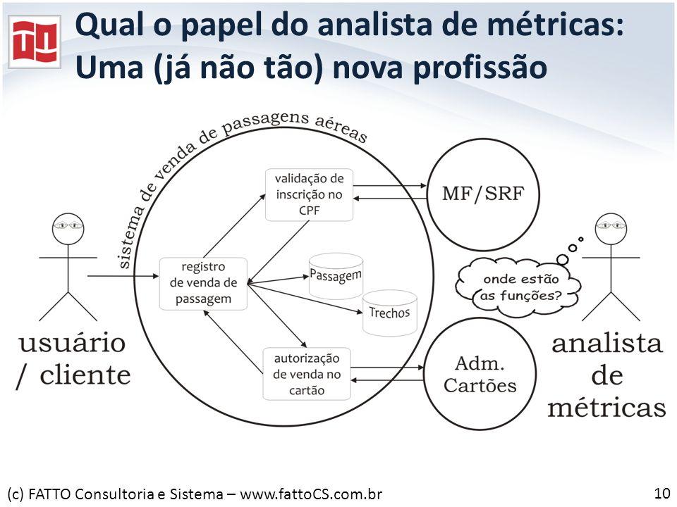 Qual o papel do analista de métricas: Uma (já não tão) nova profissão 10 (c) FATTO Consultoria e Sistema – www.fattoCS.com.br