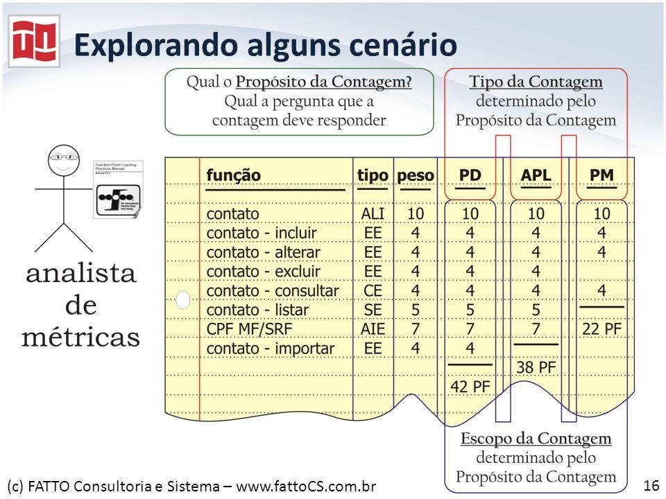 Explorando alguns cenário 16 (c) FATTO Consultoria e Sistema – www.fattoCS.com.br