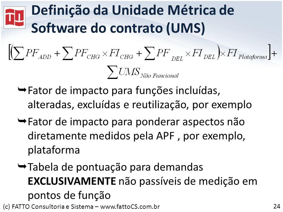 Definição da Unidade Métrica de Software do contrato (UMS) Fator de impacto para funções incluídas, alteradas, excluídas e reutilização, por exemplo F