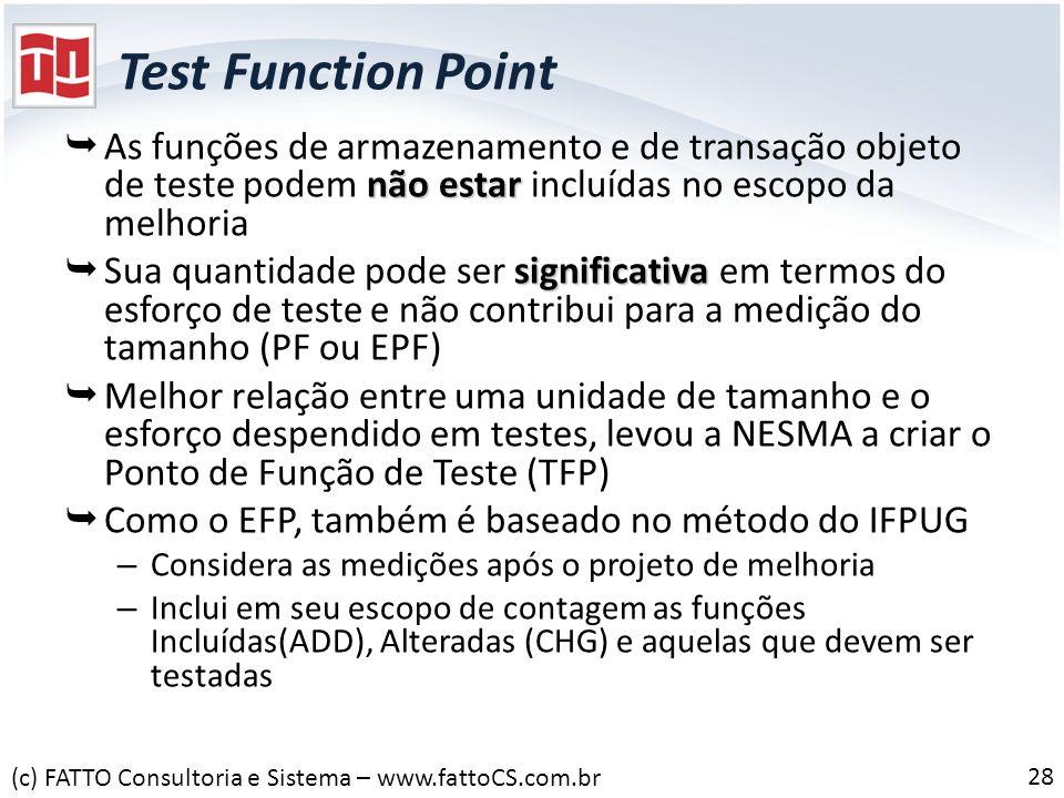 Test Function Point não estar As funções de armazenamento e de transação objeto de teste podem não estar incluídas no escopo da melhoria significativa