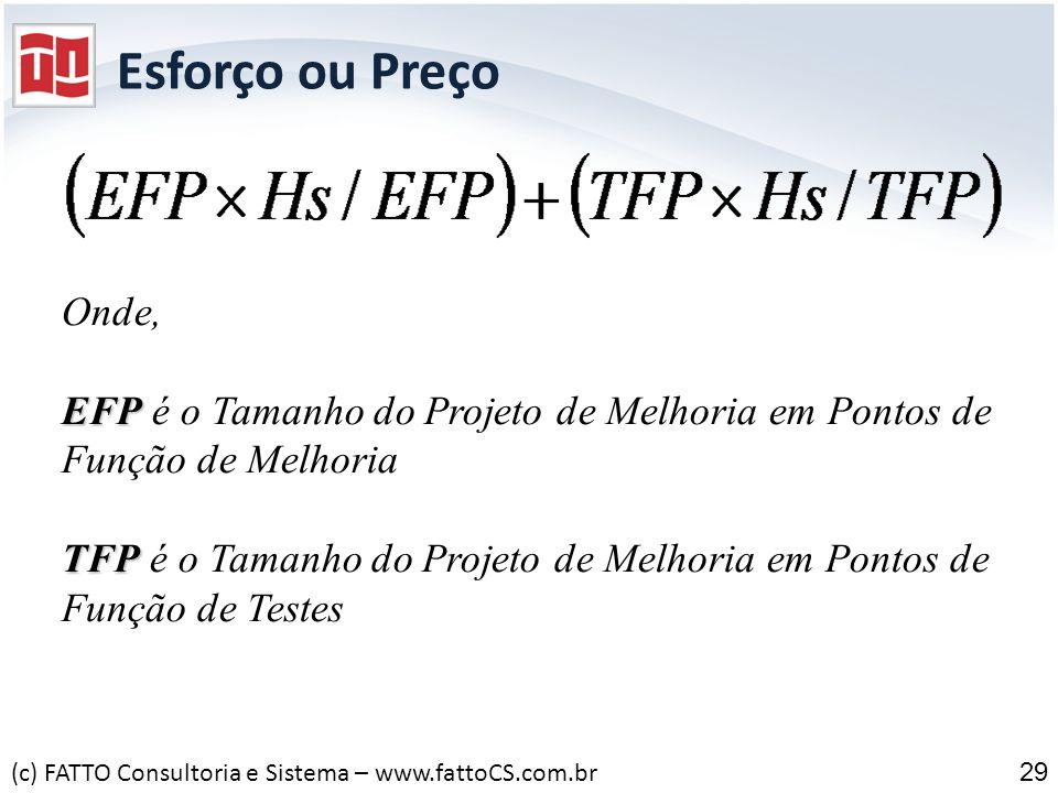 Esforço ou Preço 29 Onde, EFP EFP é o Tamanho do Projeto de Melhoria em Pontos de Função de Melhoria TFP TFP é o Tamanho do Projeto de Melhoria em Pon