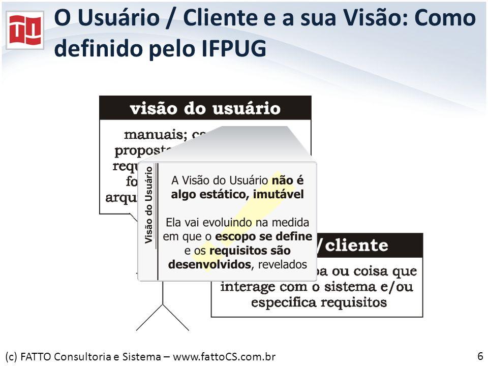 O Usuário / Cliente e a sua Visão: Como definido pelo IFPUG 6 (c) FATTO Consultoria e Sistema – www.fattoCS.com.br