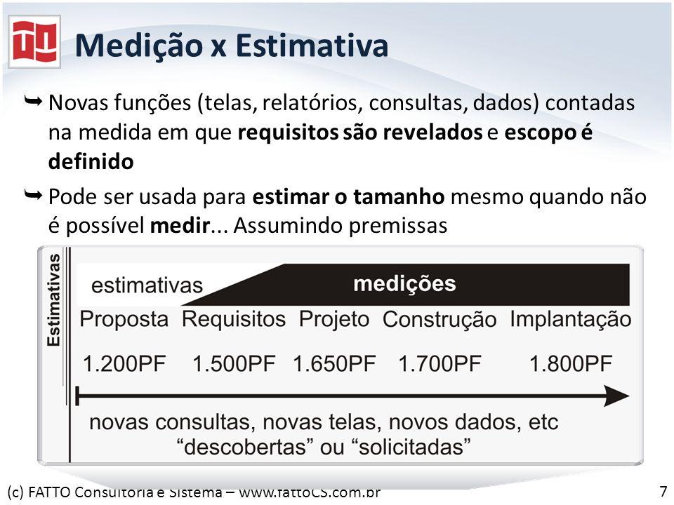 Medição x Estimativa Novas funções (telas, relatórios, consultas, dados) contadas na medida em que requisitos são revelados e escopo é definido Pode s