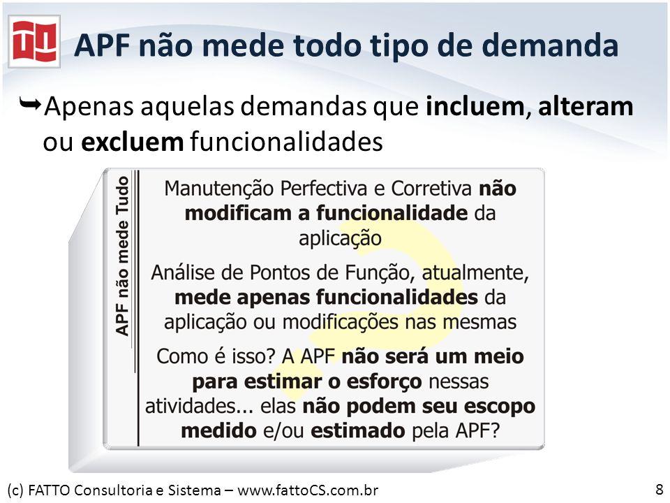 APF não mede todo tipo de demanda Apenas aquelas demandas que incluem, alteram ou excluem funcionalidades (c) FATTO Consultoria e Sistema – www.fattoC
