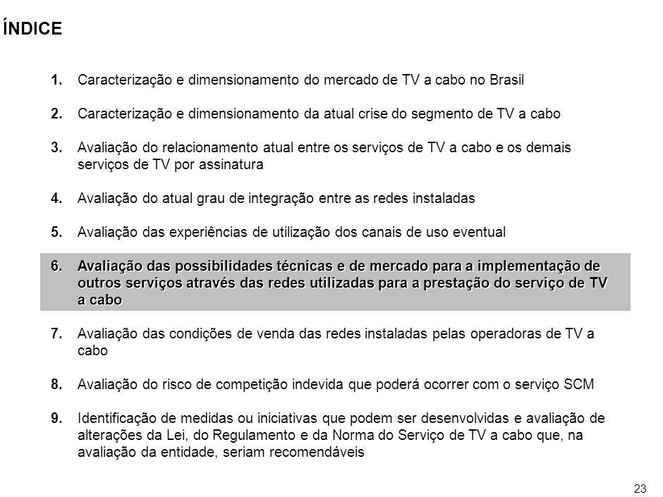 22 USO DE CANAIS EVENTUAIS Fonte:Análise da legislação, ANATEL Não tem havido interesse da sociedade pelo uso de canais eventuais LEI N° 8.977, de 6 de janeiro de 1995, SERVIÇO DE TV A CABO –Art.