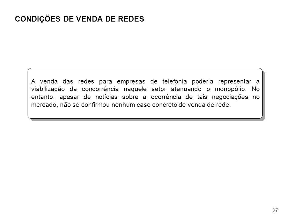 26 ÍNDICE Caracterização e dimensionamento do mercado de TV a cabo no Brasil Caracterização e dimensionamento da atual crise do segmento de TV a cabo Avaliação do relacionamento atual entre os serviços de TV a cabo e os demais serviços de TV por assinatura Avaliação do atual grau de integração entre as redes instaladas Avaliação das experiências de utilização dos canais de uso eventual Avaliação das possibilidades técnicas e de mercado para a implementação de outros serviços através das redes utilizadas para a prestação do serviço de TV a cabo Avaliação das condições de venda das redes instaladas pelas operadoras de TV a cabo Avaliação do risco de competição indevida que poderá ocorrer com o serviço SCM Identificação de medidas ou iniciativas que podem ser desenvolvidas e avaliação de alterações da Lei, do Regulamento e da Norma do Serviço de TV a cabo que, na avaliação da entidade, seriam recomendáveis Caracterização e dimensionamento do mercado de TV a cabo no Brasil Caracterização e dimensionamento da atual crise do segmento de TV a cabo Avaliação do relacionamento atual entre os serviços de TV a cabo e os demais serviços de TV por assinatura Avaliação do atual grau de integração entre as redes instaladas Avaliação das experiências de utilização dos canais de uso eventual Avaliação das possibilidades técnicas e de mercado para a implementação de outros serviços através das redes utilizadas para a prestação do serviço de TV a cabo Avaliação das condições de venda das redes instaladas pelas operadoras de TV a cabo Avaliação do risco de competição indevida que poderá ocorrer com o serviço SCM Identificação de medidas ou iniciativas que podem ser desenvolvidas e avaliação de alterações da Lei, do Regulamento e da Norma do Serviço de TV a cabo que, na avaliação da entidade, seriam recomendáveis 1.