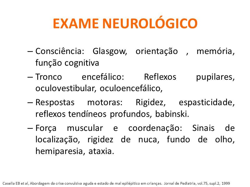 EXAME NEUROLÓGICO – Consciência: Glasgow, orientação, memória, função cognitiva – Tronco encefálico: Reflexos pupilares, oculovestibular, oculoencefál