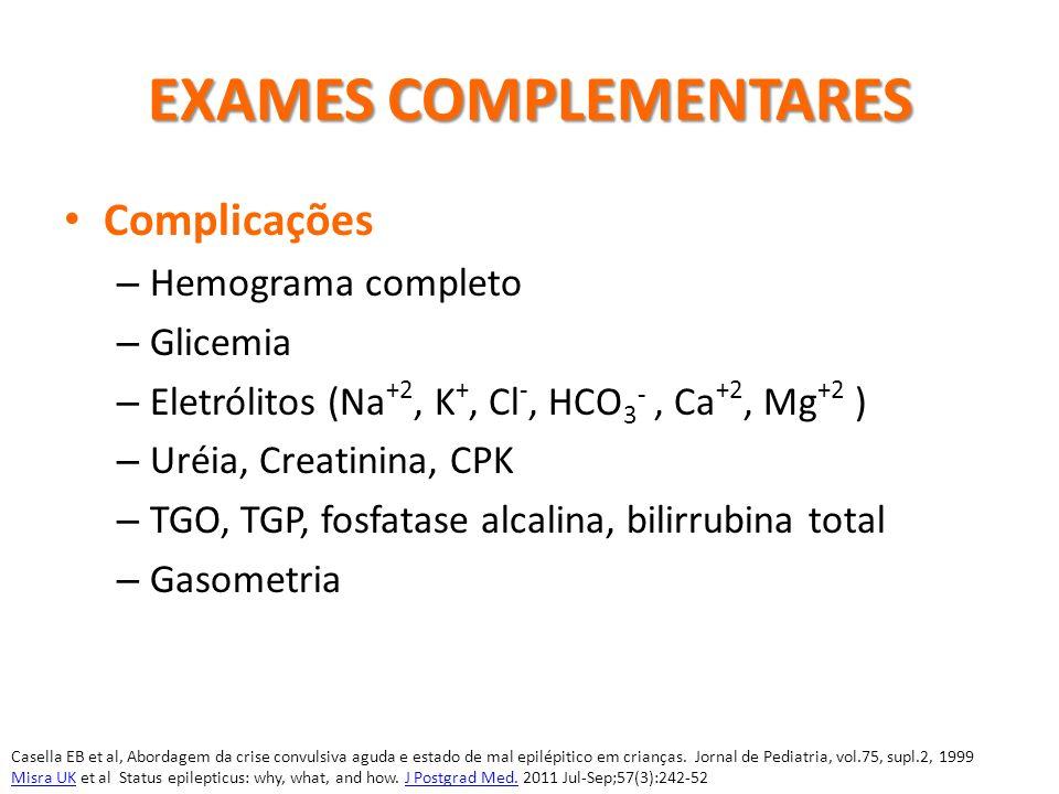 EXAMES COMPLEMENTARES Complicações – Hemograma completo – Glicemia – Eletrólitos (Na +2, K +, Cl -, HCO 3 -, Ca +2, Mg +2 ) – Uréia, Creatinina, CPK –