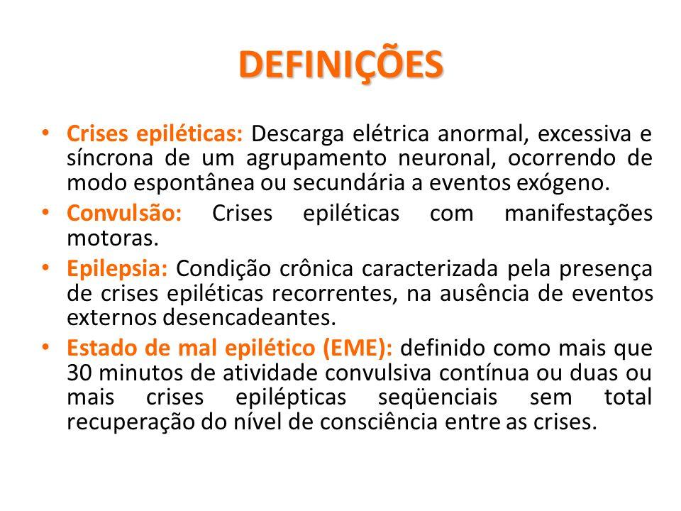 DEFINIÇÕES Crises epiléticas: Descarga elétrica anormal, excessiva e síncrona de um agrupamento neuronal, ocorrendo de modo espontânea ou secundária a