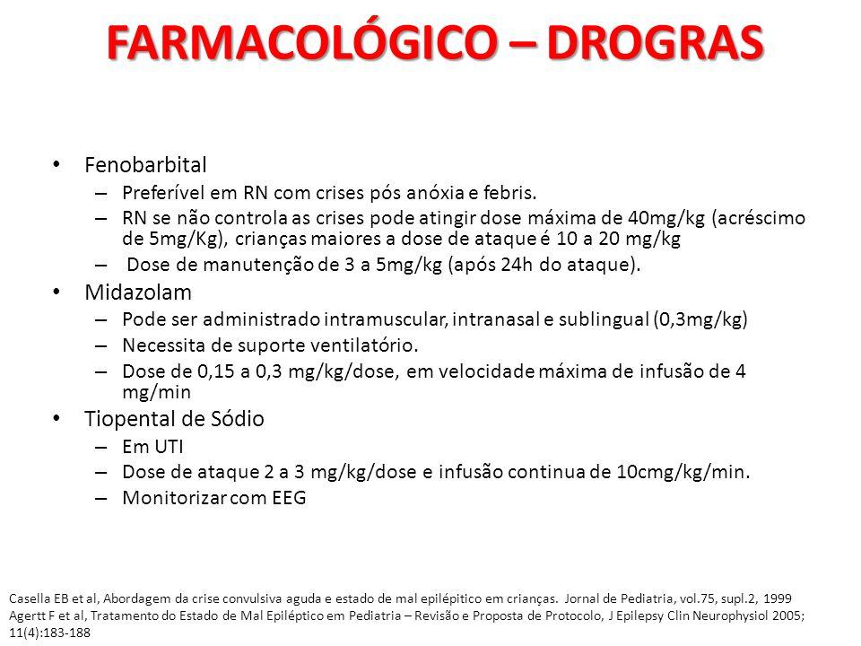 Fenobarbital – Preferível em RN com crises pós anóxia e febris. – RN se não controla as crises pode atingir dose máxima de 40mg/kg (acréscimo de 5mg/K