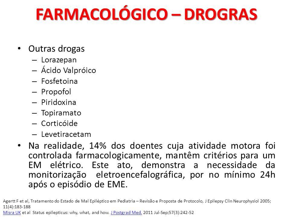 Outras drogas – Lorazepan – Ácido Valpróico – Fosfetoina – Propofol – Piridoxina – Topiramato – Corticóide – Levetiracetam Na realidade, 14% dos doent