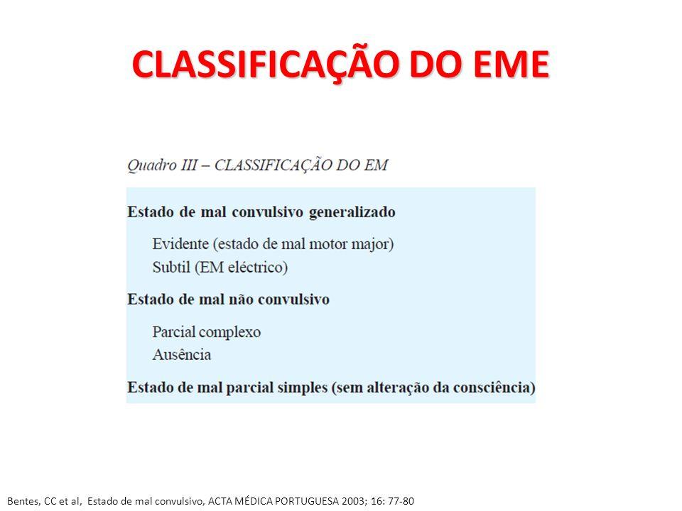CLASSIFICAÇÃO DO EME Bentes, CC et al, Estado de mal convulsivo, ACTA MÉDICA PORTUGUESA 2003; 16: 77-80