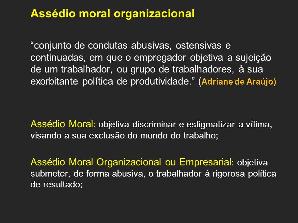 Assédio moral organizacional conjunto de condutas abusivas, ostensivas e continuadas, em que o empregador objetiva a sujeição de um trabalhador, ou gr