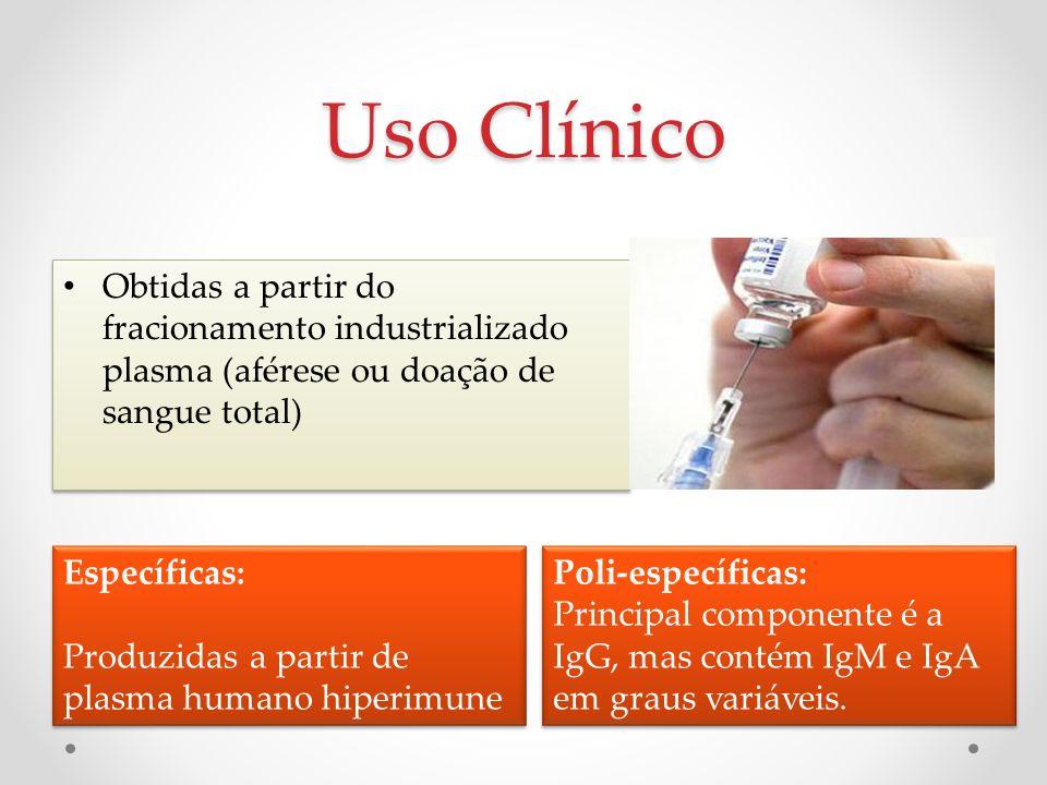 Uso Clínico Obtidas a partir do fracionamento industrializado plasma (aférese ou doação de sangue total) Específicas: Produzidas a partir de plasma hu