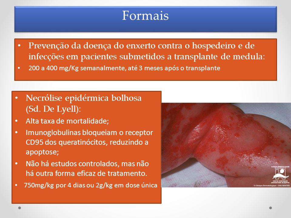 Formais Prevenção da doença do enxerto contra o hospedeiro e de infecções em pacientes submetidos a transplante de medula: 200 a 400 mg/Kg semanalment