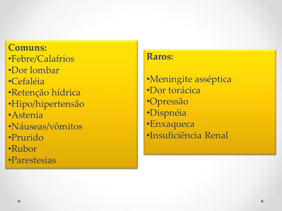 Comuns: Febre/Calafrios Dor lombar Cefaléia Retenção hídrica Hipo/hipertensão Astenia Náuseas/vômitos Prurido Rubor Parestesias Comuns: Febre/Calafrio