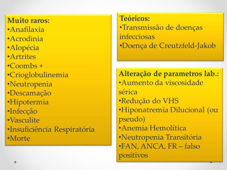 Muito raros: Anafilaxia Acrodinia Alopécia Artrites Coombs + Crioglobulinemia Neutropenia Descamação Hipotermia Infecção Vasculite Insuficiência Respi