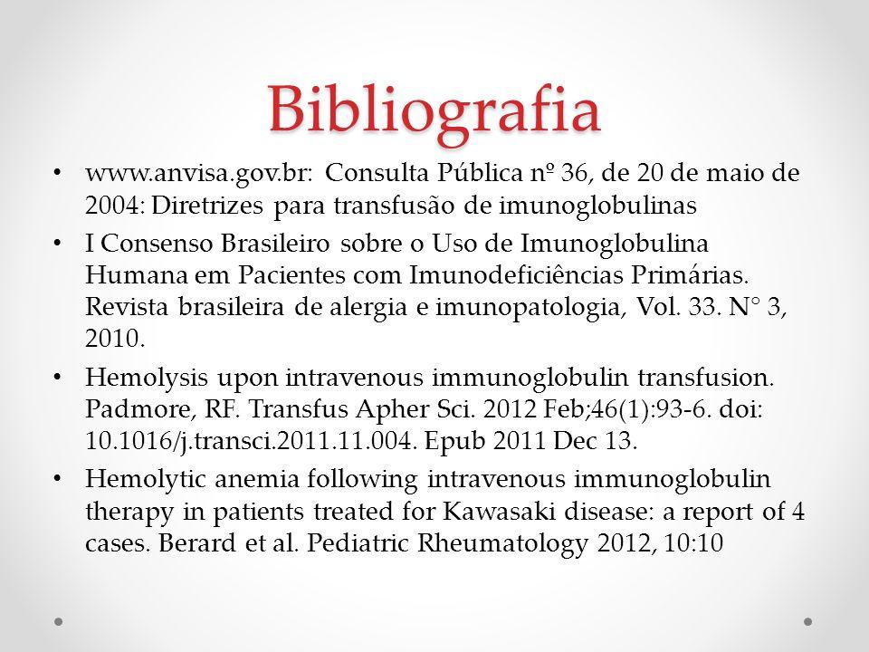 Bibliografia www.anvisa.gov.br: Consulta Pública nº 36, de 20 de maio de 2004: Diretrizes para transfusão de imunoglobulinas I Consenso Brasileiro sob