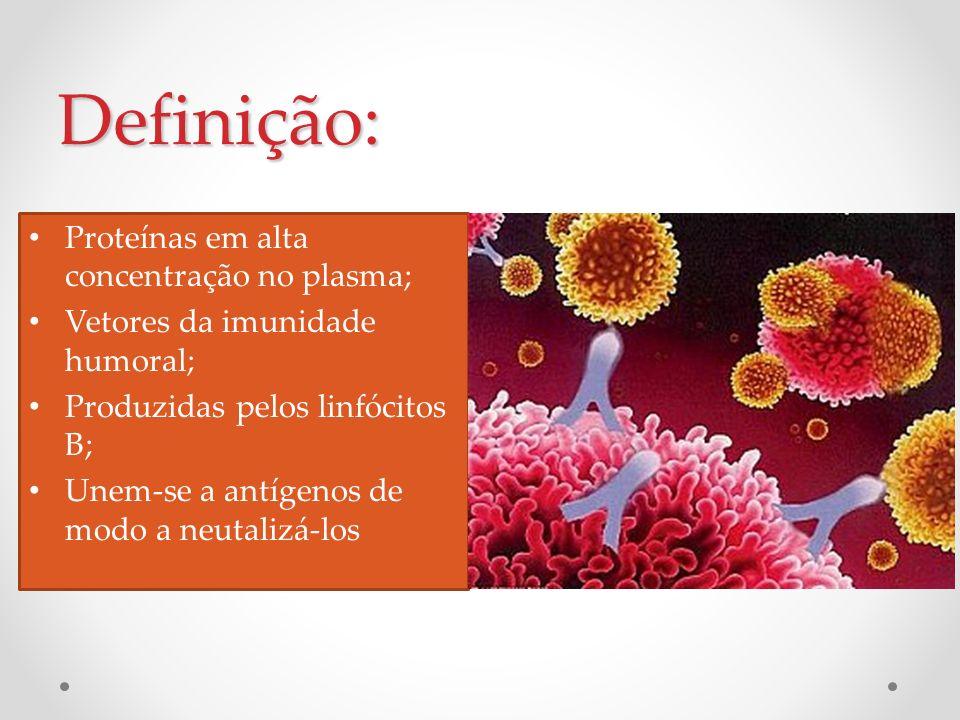 Definição: Proteínas em alta concentração no plasma; Vetores da imunidade humoral; Produzidas pelos linfócitos B; Unem-se a antígenos de modo a neutal