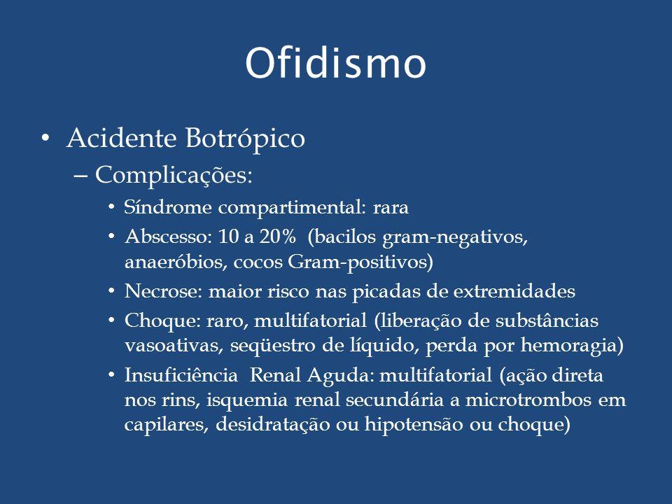 Ofidismo Acidente Botrópico – Complicações: Síndrome compartimental: rara Abscesso: 10 a 20% (bacilos gram-negativos, anaeróbios, cocos Gram-positivos
