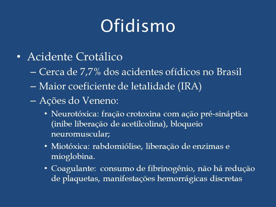 Ofidismo Acidente Crotálico – Cerca de 7,7% dos acidentes ofídicos no Brasil – Maior coeficiente de letalidade (IRA) – Ações do Veneno: Neurotóxica: f