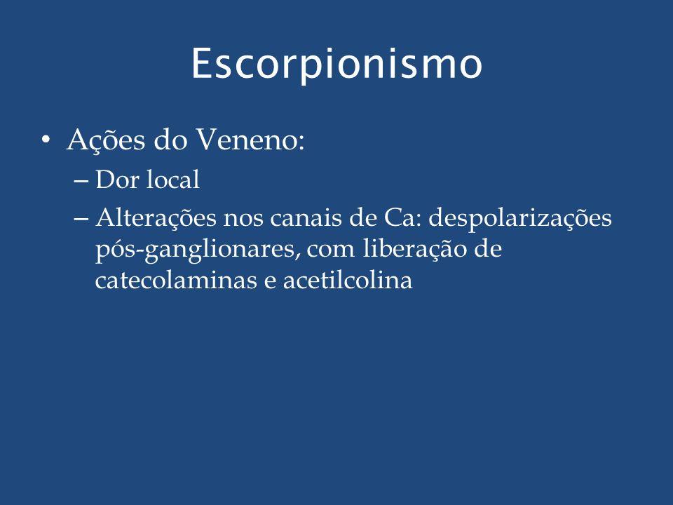Escorpionismo Ações do Veneno: – Dor local – Alterações nos canais de Ca: despolarizações pós-ganglionares, com liberação de catecolaminas e acetilcol