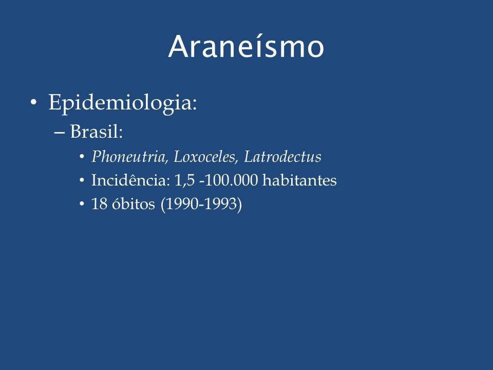 Araneísmo Epidemiologia: – Brasil: Phoneutria, Loxoceles, Latrodectus Incidência: 1,5 -100.000 habitantes 18 óbitos (1990-1993)