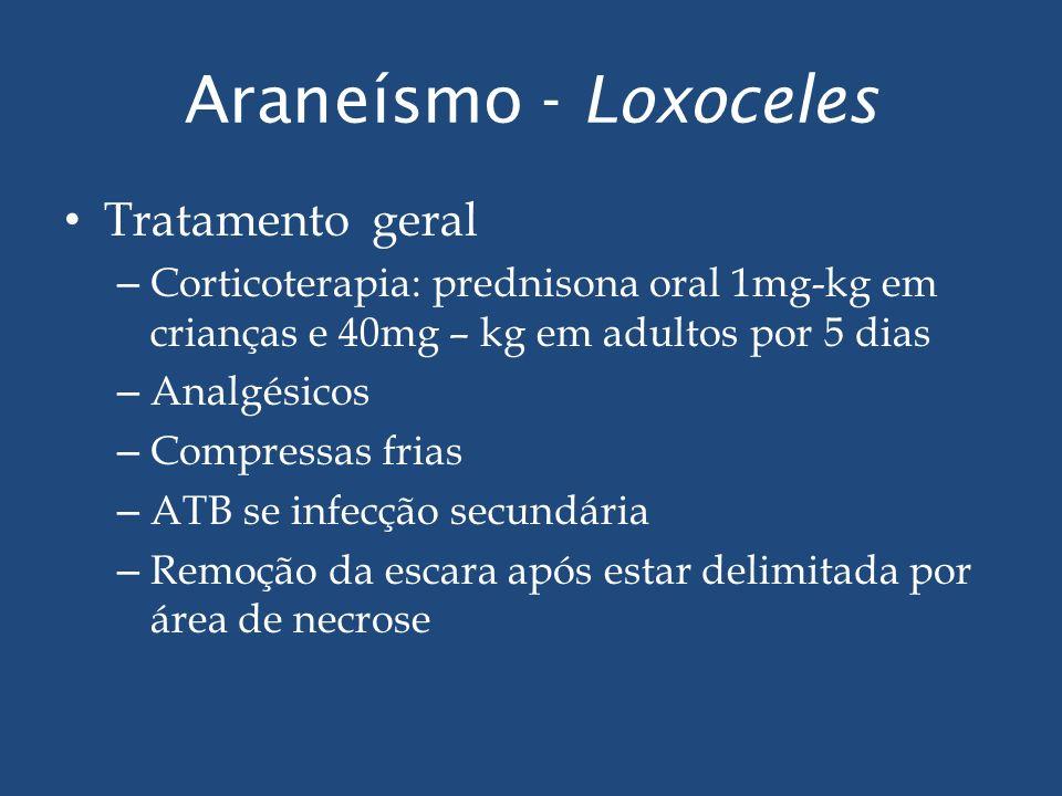 Araneísmo - Loxoceles Tratamento geral – Corticoterapia: prednisona oral 1mg-kg em crianças e 40mg – kg em adultos por 5 dias – Analgésicos – Compress