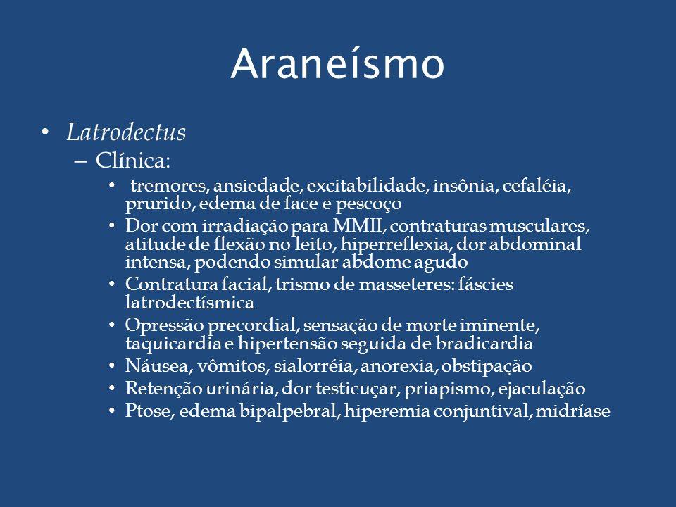 Araneísmo Latrodectus – Clínica: tremores, ansiedade, excitabilidade, insônia, cefaléia, prurido, edema de face e pescoço Dor com irradiação para MMII