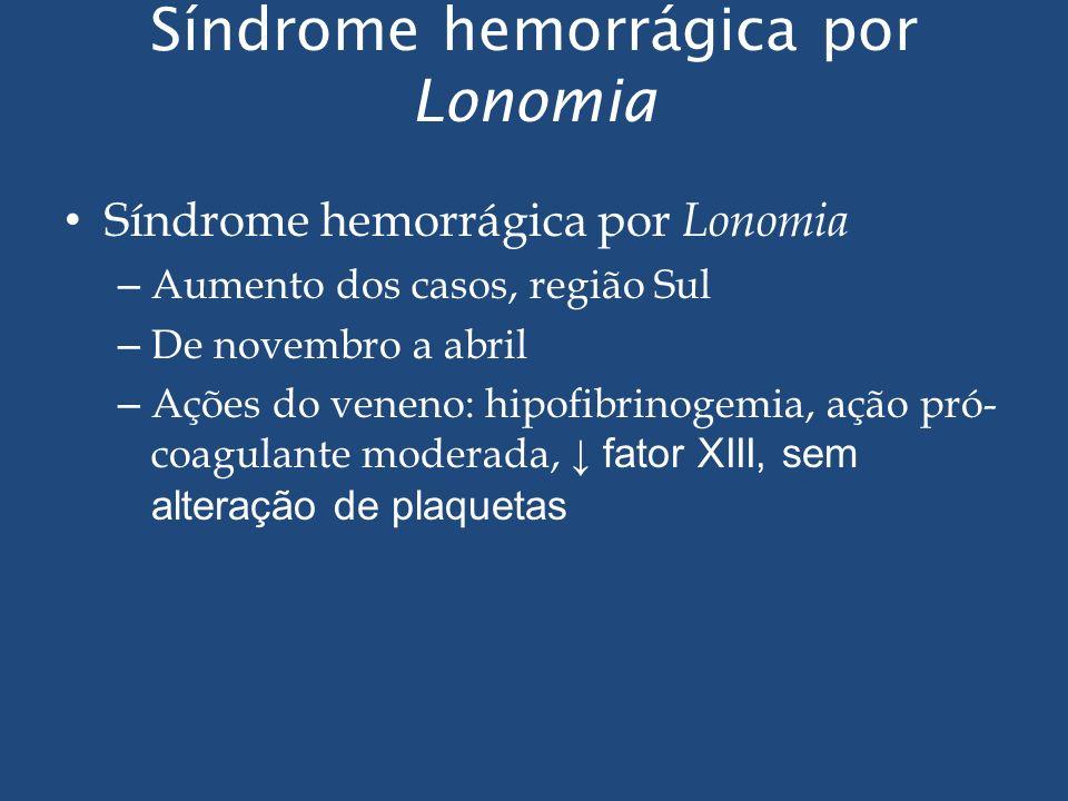 Síndrome hemorrágica por Lonomia – Aumento dos casos, região Sul – De novembro a abril – Ações do veneno: hipofibrinogemia, ação pró- coagulante moder
