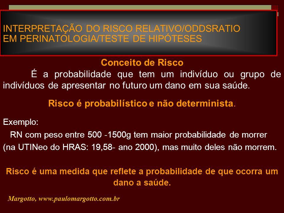 INTERPRETAÇÃO DO RISCO RELATIVO/ODDSRATIO EM PERINATOLOGIA/TESTE DE HIPÓTESES Margotto, www.paulomargotto.com.br Conceito de Risco É a probabilidade q
