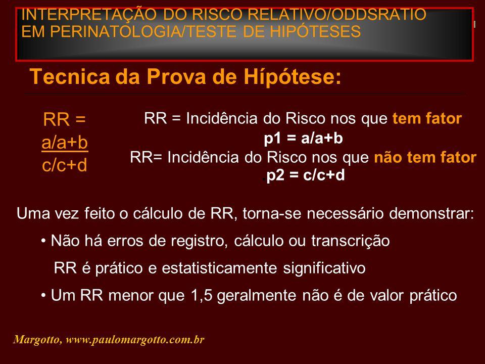 INTERPRETAÇÃO DO RISCO RELATIVO/ODDSRATIO EM PERINATOLOGIA/TESTE DE HIPÓTESES Tecnica da Prova de Hípótese: RR = a/a+b c/c+d RR = Incidência do Risco